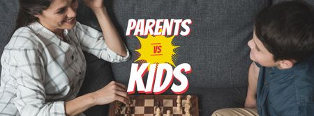 Plantilla de diseño de Mother and son playing chess Facebook cover