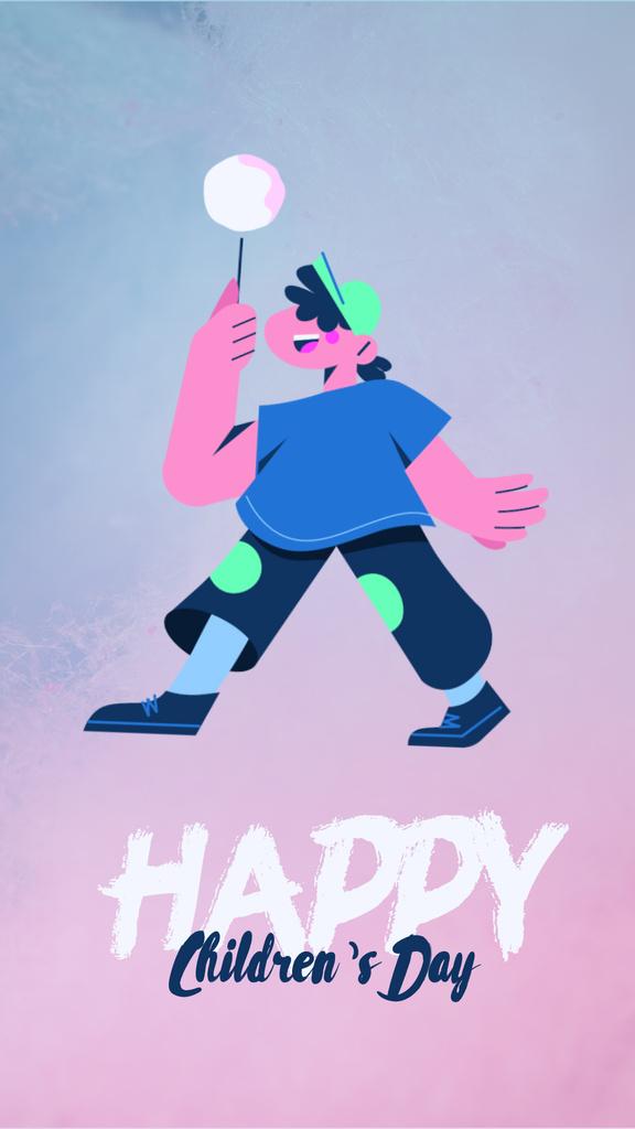 Children's Day Greeting Happy Kid with Candy — Maak een ontwerp