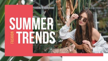 Summer Fashion Ad Woman Wearing Sunglasses Youtube Thumbnailデザインテンプレート