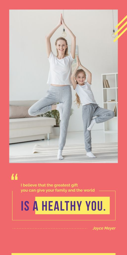 Mother and daughter doing yoga — Create a Design