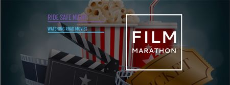Movie Night Invitation with Cinema Attributes Facebook cover Modelo de Design