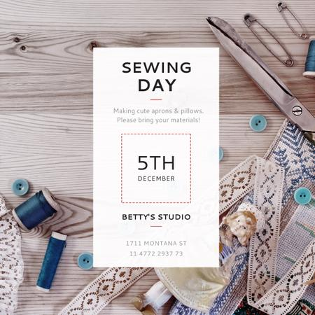 Sewing day event with needlework tools Instagram AD Modelo de Design