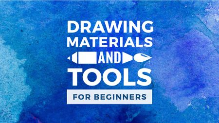 Modèle de visuel Drawing Materials Watercolor Background in Blue - Title