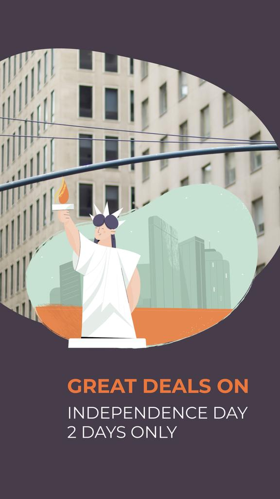 Independence Day Deals with Liberty Statue | Vertical Video Template — Create a Design