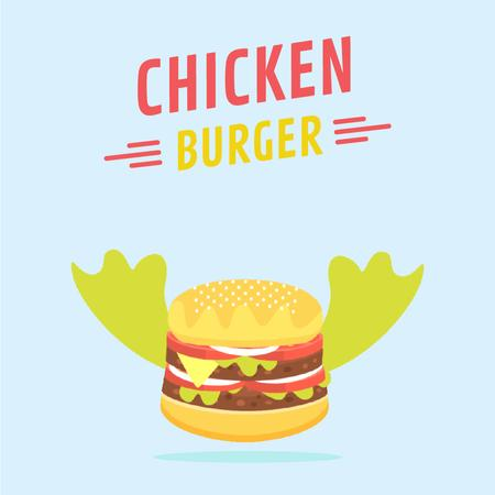 Flying Tasty Cheeseburger Animated Post Modelo de Design