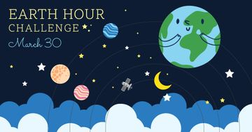 Earth hour banner with cute planets