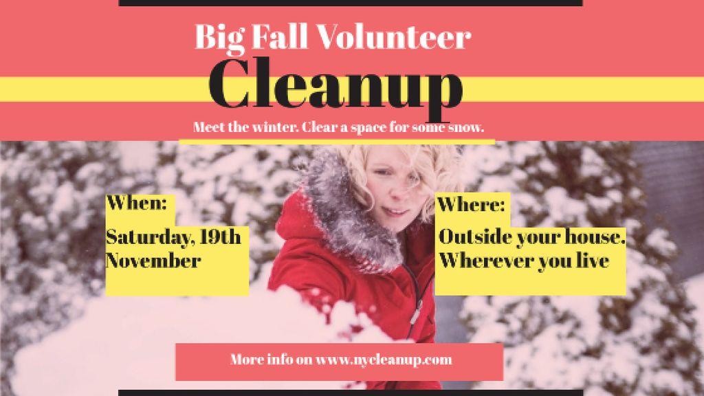 Woman at Winter Volunteer clean up Title Tasarım Şablonu