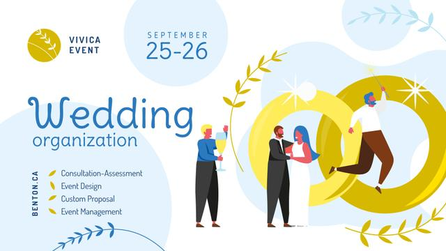 Template di design Wedding Planning Services Happy Newlyweds  FB event cover