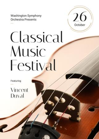 Classical Music Festival Violin Strings Flayer Design Template