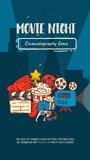 Movie Night invitation Cinema attributes Instagram Video Story Design Template
