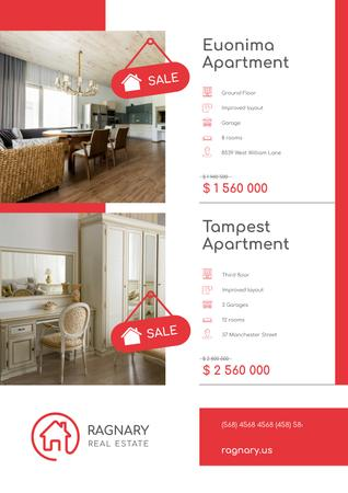 Real Estate Ad with Elegant Room Interior Poster – шаблон для дизайна