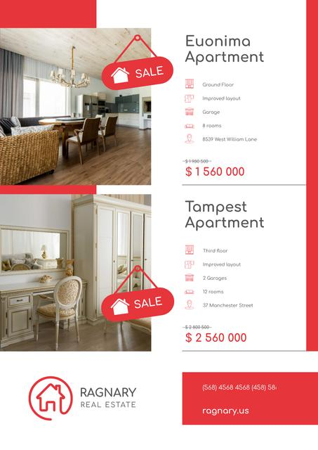 Real Estate Ad with Elegant Room Interior Poster – шаблон для дизайна
