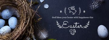Easter Greeting with nest and eggs