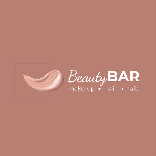 Beauty Bar Ad with Cream Smear in Pink Logo – шаблон для дизайна