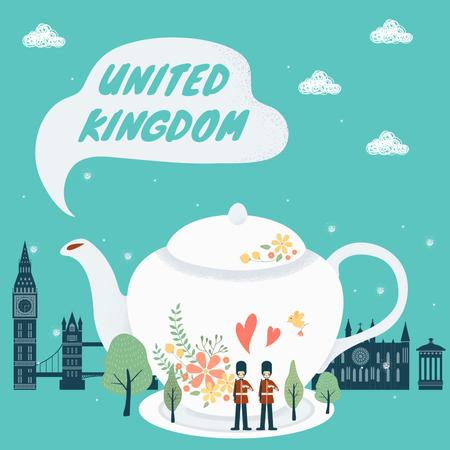United kingdom travelling illustration Instagramデザインテンプレート