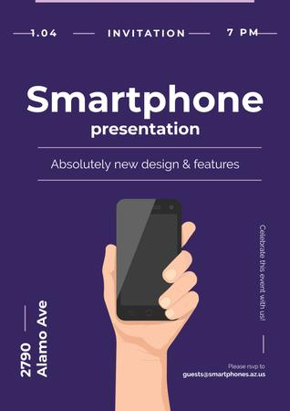 Plantilla de diseño de Invitation to new smartphone presentation Poster