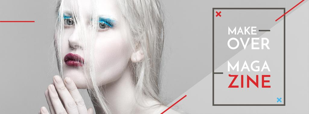 Fashion Magazine Ad Girl in White Makeup | Facebook Cover Template — ein Design erstellen