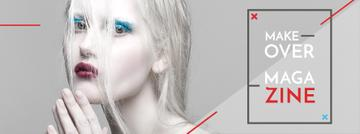 Fashion Magazine Ad Girl in White Makeup | Facebook Cover Template