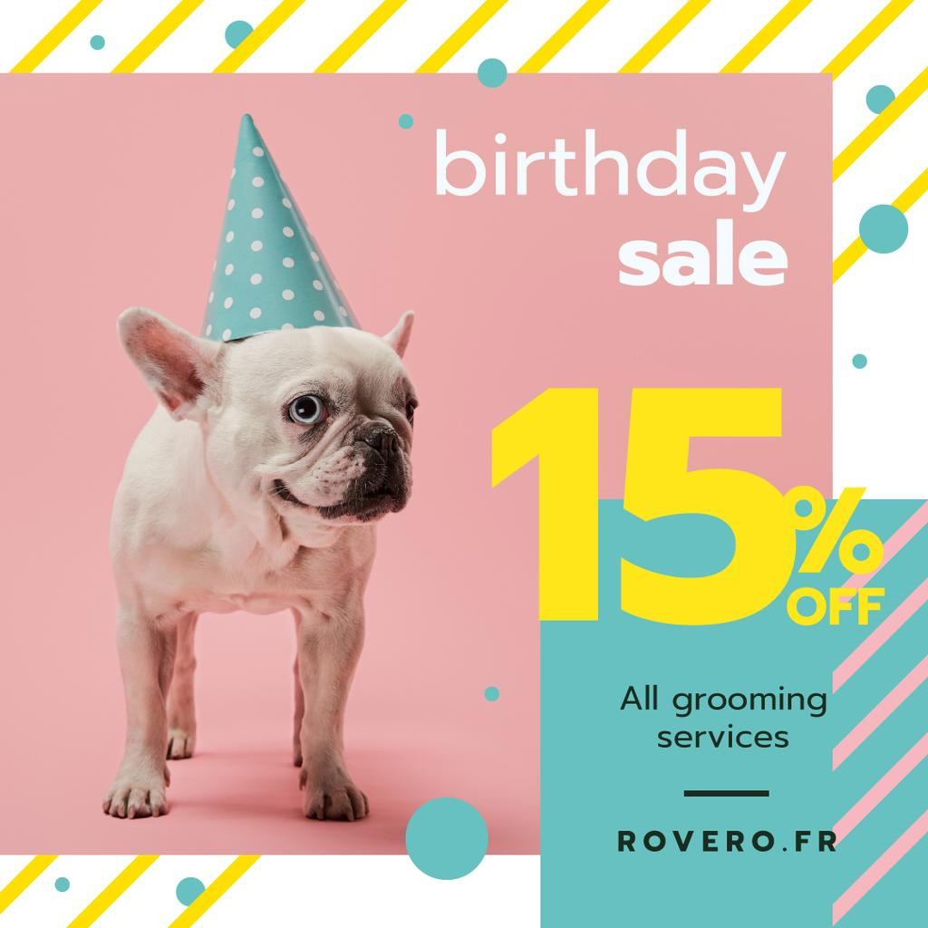 Birthday Sale Funny Frenchie in Hat — Modelo de projeto