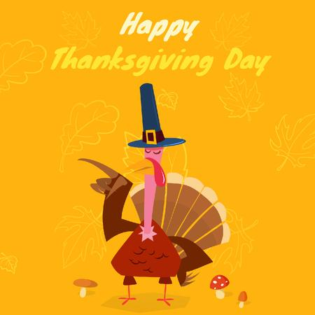 Ontwerpsjabloon van Animated Post van Thanksgiving with Turkey in Pilgrim hat