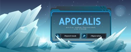 Szablon projektu Game Stream Ad with Glaciers illustration Twitch Profile Banner