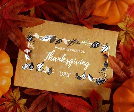 Template di design Autumn leaves and pumpkins for Thanksgiving Facebook