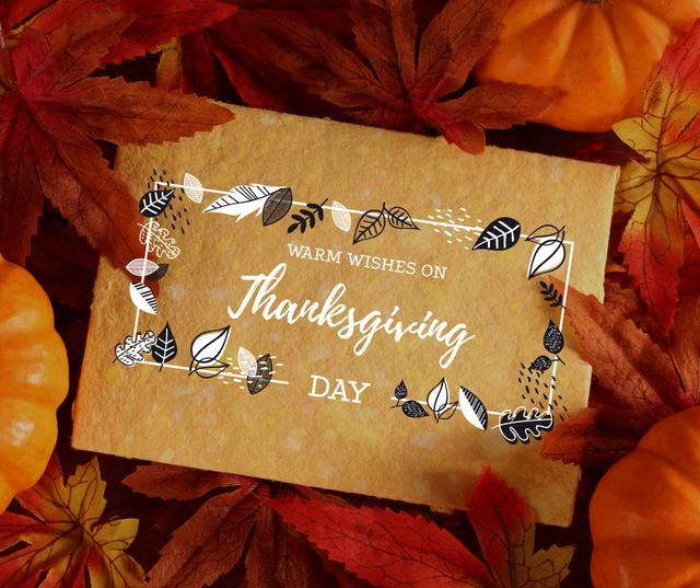 Autumn leaves and pumpkins for Thanksgiving Facebook Tasarım Şablonu