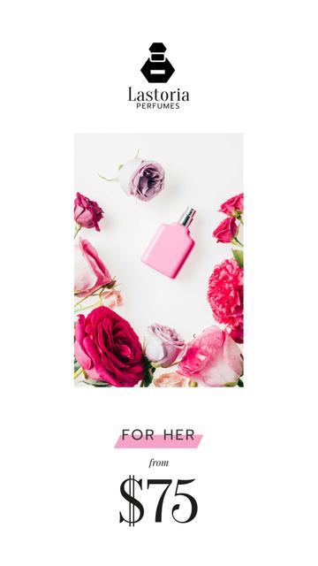 Plantilla de diseño de Perfume Offer with Glass Bottle in Flowers Instagram Video Story