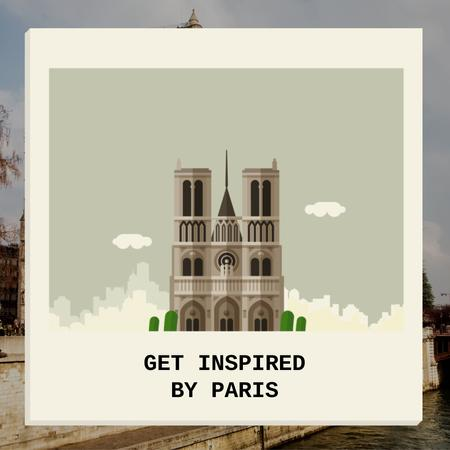 Designvorlage Notre Dame Famous Travel Spot für Animated Post