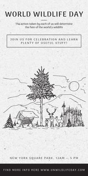 World Wildlife Day Event Announcement Nature Drawing