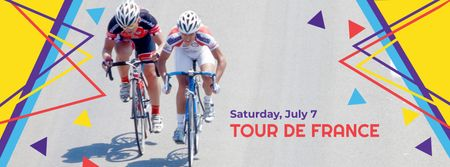 Plantilla de diseño de Tour de France Open day Facebook cover