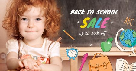 Designvorlage Back to School Sale Girl student in classroom für Facebook AD