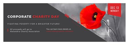 Plantilla de diseño de Corporate Charity Day announcement on red Poppy Tumblr
