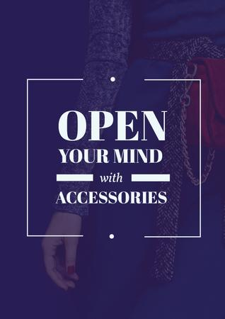 Accessories Quote with Stylish Woman in Blue Poster – шаблон для дизайну