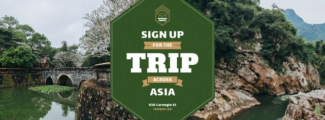 Szablon projektu Trip Offer Scenic River View Facebook cover