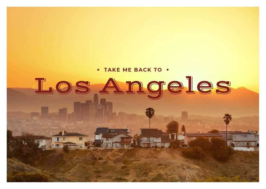 Los Angeles City View Postcard Tasarım Şablonu