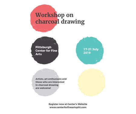 Charcoal Drawing Workshop colorful spots Facebook Modelo de Design