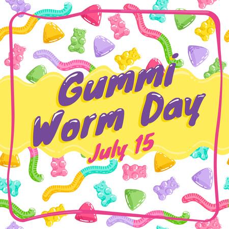 Ontwerpsjabloon van Instagram van Gummi worm candy Day