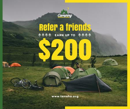 Plantilla de diseño de Camping Tour Offer Tents in Mountains Facebook
