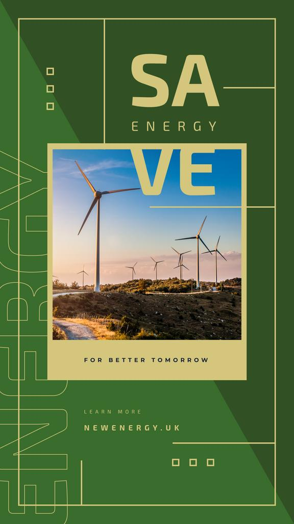 Szablon projektu Wind turbines farm for saving energy Instagram Story