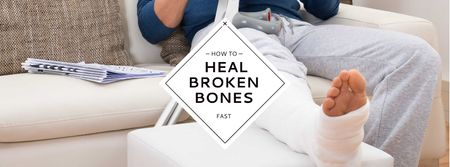 Man with broken bones sitting on sofa Facebook cover – шаблон для дизайна