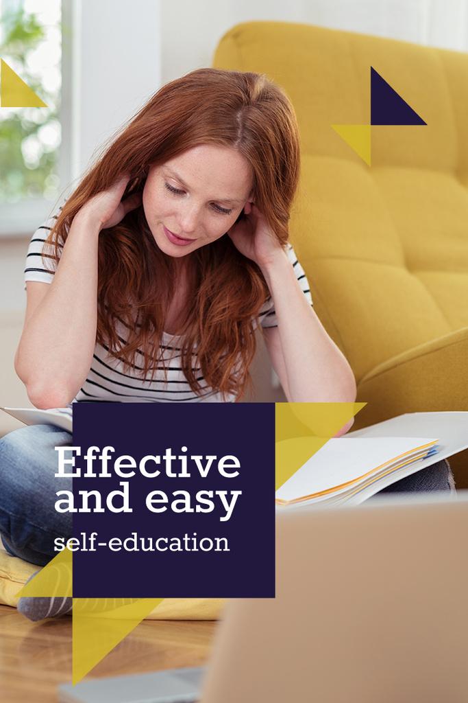 Self education concept with Woman reading book — Modelo de projeto
