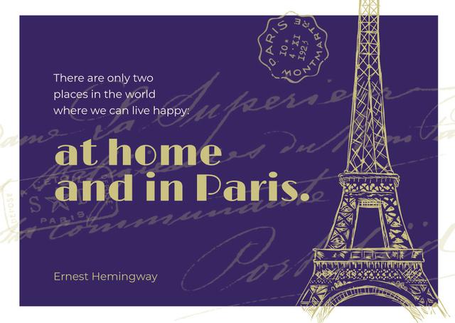 Modèle de visuel Paris Travelling Inspiration with Eiffel Tower - Postcard