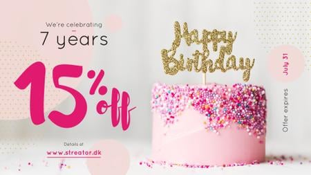 Ontwerpsjabloon van FB event cover van Birthday Offer Pink Sweet Cake