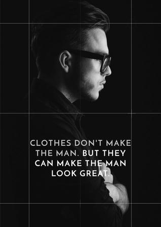 Citation about a man clothes Poster Modelo de Design