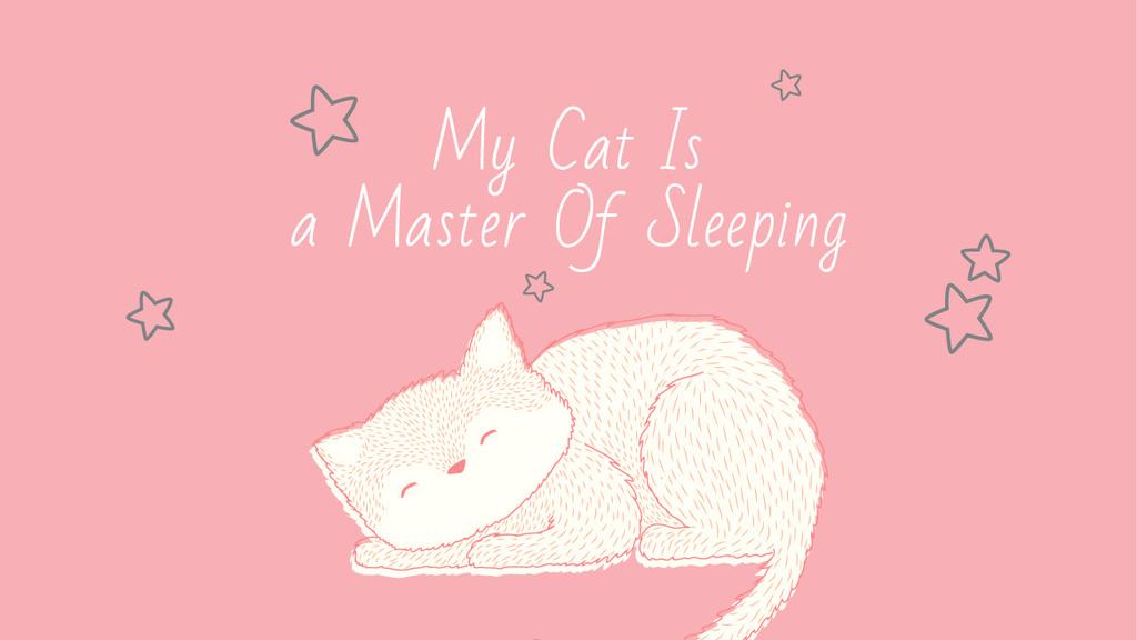 Cute Cat Sleeping in Pink — Crear un diseño