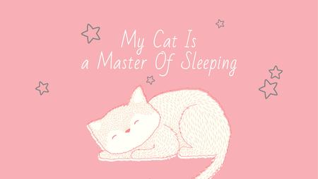 Plantilla de diseño de Cute Cat Sleeping in Pink Title