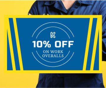 Work overalls sale advertisement