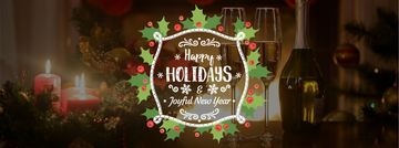 Winter Holidays Greeting Champagne and Candles | Facebook Video Cover Template