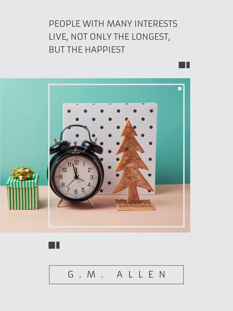 Inspirational Quote about Interests with alarm clock Poster US – шаблон для дизайна